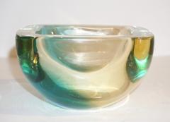 Venini Venini 1970s Italian Square Golden Yellow and Acqua Green Murano Glass Bowl - 1647063