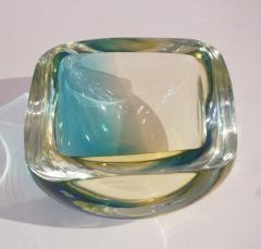 Venini Venini 1970s Italian Square Golden Yellow and Acqua Green Murano Glass Bowl - 1647065