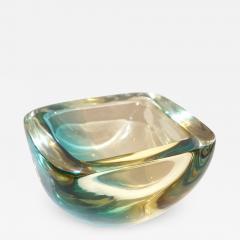 Venini Venini 1970s Italian Square Golden Yellow and Acqua Green Murano Glass Bowl - 1650099