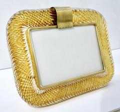 Venini Venini 1980s Italian Vintage Amber Gold Murano Glass and Brass Photo Frame - 2076359