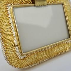 Venini Venini 1980s Italian Vintage Amber Gold Murano Glass and Brass Photo Frame - 2076360