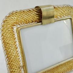 Venini Venini 1980s Italian Vintage Amber Gold Murano Glass and Brass Photo Frame - 2076361