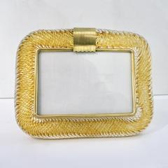 Venini Venini 1980s Italian Vintage Amber Gold Murano Glass and Brass Photo Frame - 2076362