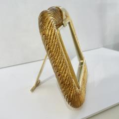 Venini Venini 1980s Italian Vintage Amber Gold Murano Glass and Brass Photo Frame - 2076363