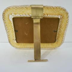 Venini Venini 1980s Italian Vintage Amber Gold Murano Glass and Brass Photo Frame - 2076364