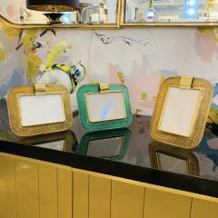 Venini Venini 1980s Italian Vintage Amber Gold Murano Glass and Brass Photo Frame - 2076365