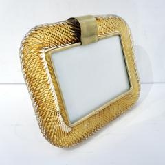 Venini Venini 1980s Italian Vintage Amber Gold Murano Glass and Brass Photo Frame - 2076367