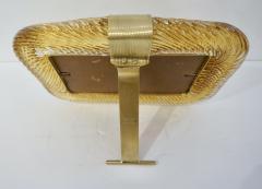 Venini Venini 1980s Italian Vintage Amber Gold Murano Glass and Brass Photo Frame - 2076368