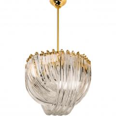 Venini Venini Light Fixture Curved Crystal Glass and Gilt Brass Italy - 1039257