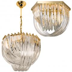 Venini Venini Light Fixture Curved Crystal Glass and Gilt Brass Italy - 1039264