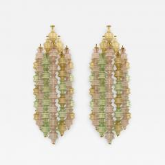 Venini Venini Pair of Murano Glass and White Lacquered Metal Sconces Italy 1960s - 871622