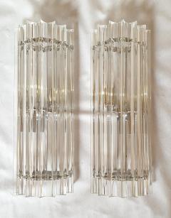 Venini Venini pair of Mid Century Modern clear Murano Triedri glass sconces Italy 1970s - 1813287