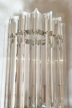 Venini Venini pair of Mid Century Modern clear Murano Triedri glass sconces Italy 1970s - 1813292