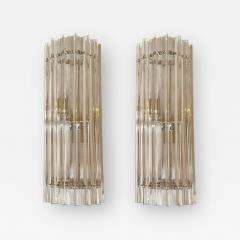 Venini Venini pair of Mid Century Modern clear Murano Triedri glass sconces Italy 1970s - 1814083