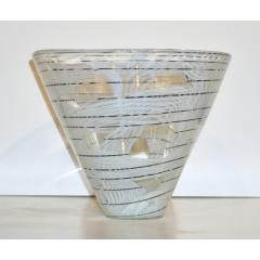 Venini Vintage Venini Pair of Crystal Murano Glass Vases with Black and White Murrine - 1660487
