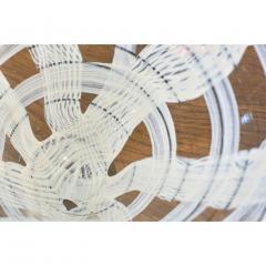 Venini Vintage Venini Pair of Crystal Murano Glass Vases with Black and White Murrine - 1660491