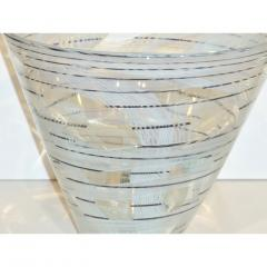 Venini Vintage Venini Pair of Crystal Murano Glass Vases with Black and White Murrine - 1660493