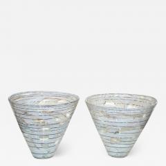 Venini Vintage Venini Pair of Crystal Murano Glass Vases with Black and White Murrine - 1662244