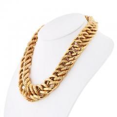 Verdura VERDURA 18K YELLOW GOLD DOUBLE CRESCENT CHAIN LINK NECKLACE - 1858408