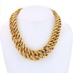 Verdura VERDURA 18K YELLOW GOLD DOUBLE CRESCENT CHAIN LINK NECKLACE - 1858409