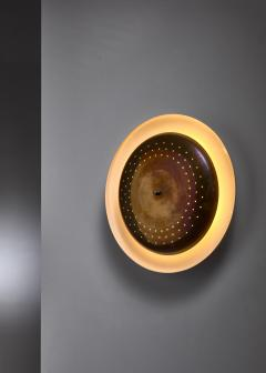 Vereinigte Werkst tten F r Kunst Im Handwerk Brass and metal wall or ceiling lamp 1950s - 1841749