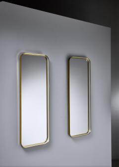 Vereinigte Werkst tten F r Kunst Im Handwerk Large Pair of Rectangular Brass and White Hallway Mirrors Germany 1950s - 1185569