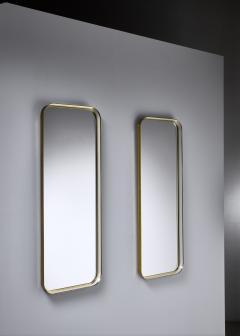 Vereinigte Werkst tten F r Kunst Im Handwerk Large Pair of Rectangular Brass and White Hallway Mirrors Germany 1950s - 1185570