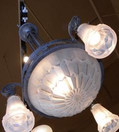 Verrerie d Art Degu Degu French Art Deco Iron Chandelier - 123351