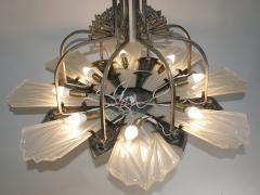 Verrerie d Art Degu French Art Deco Chandelier Signed by Degu  - 1780239