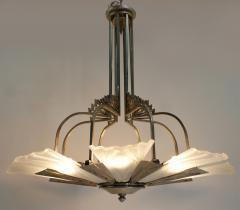 Verrerie d Art Degu French Art Deco Chandelier Signed by Degu  - 1780242