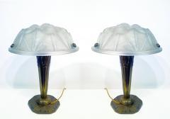 Verrerie d Art Degu Pair of French Art Deco Table Lamp Signed Degu  - 1873923
