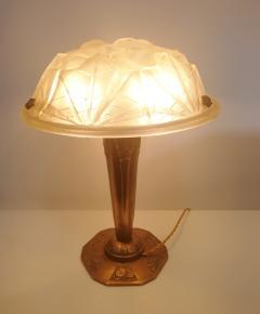 Verrerie d Art Degu Pair of French Art Deco Table Lamp Signed Degu  - 1873924