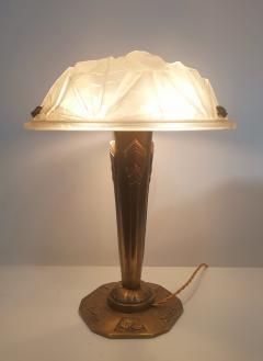 Verrerie d Art Degu Pair of French Art Deco Table Lamp Signed Degu  - 1873926