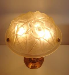 Verrerie d Art Degu Pair of French Art Deco Table Lamp Signed Degu  - 1873927