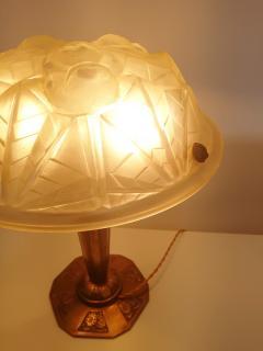 Verrerie d Art Degu Pair of French Art Deco Table Lamp Signed Degu  - 1873928