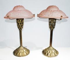 Verrerie d Art Degu Pair of French Art Deco Table Lamp Signed Degu  - 1876290