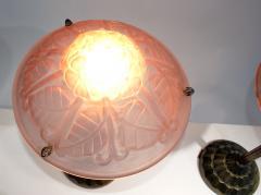 Verrerie d Art Degu Pair of French Art Deco Table Lamp Signed Degu  - 1876294
