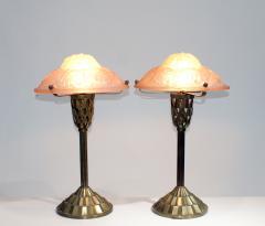 Verrerie d Art Degu Pair of French Art Deco Table Lamp Signed Degu  - 1876295