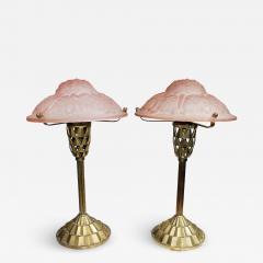 Verrerie d Art Degu Pair of French Art Deco Table Lamp Signed Degu  - 1876594