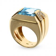 Versace VERSACE RECTANGULAR BLUE TOPAZ AND DIAMOND COCKTAIL RING 18K YELLOW GOLD - 1954931