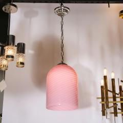 Vetri Murano Mid Century Modern Conical Candy Stripe Handblown Murano Pink Pendant by Vetri - 2050540
