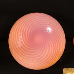 Vetri Murano Mid Century Modern Handblown Murano Pink Striated Swirl Flush Mount Signed Vetri - 2050527