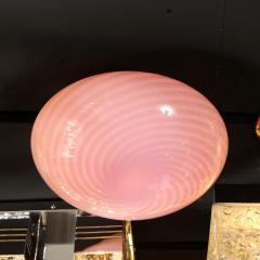 Vetri Murano Mid Century Modern Handblown Murano Pink Striated Swirl Flush Mount Signed Vetri - 2050547