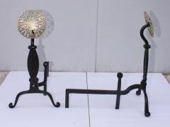 Virginia Metalcrafters VMC Virginia Metal crafters Iron With Brass Medallions Andirons - 1606911