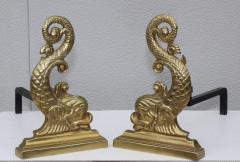 Virginia Metalcrafters VMC Virginia Metalcrafters Brass Dolphin Andirons - 1150293