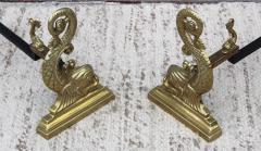 Virginia Metalcrafters VMC Virginia Metalcrafters Brass Dolphin Andirons - 1150296