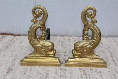 Virginia Metalcrafters VMC Virginia Metalcrafters Brass Dolphin Andirons - 1150299