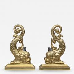 Virginia Metalcrafters VMC Virginia Metalcrafters Brass Dolphin Andirons - 1151172