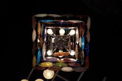 Vistosi 1 of 2 Large Multi Color Murano Glass Disk Chandelier Attributed to Vistosi - 1211174