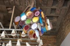 Vistosi 1 of 2 Large Multi Color Murano Glass Disk Chandelier Attributed to Vistosi - 1211175